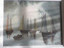 Peinture huile sur bois - Marine naïve signée G. DAVY - Voiliers Bateau Pêcheurs