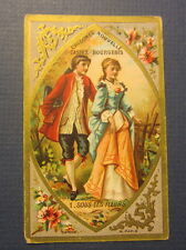 Old 1880's CHICOREE de Casiez - Bourgeois  French TRADE CARD - Under The Flowers