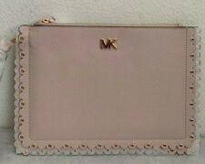 NWT Michael Kors Medium Scallop Leather Zip Clutch $118 Soft Pink Original Pack