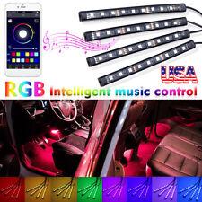 4x 9 LED RGB Car Interior Atmosphere Light Strip Phone bluetooth APP Control 2