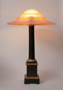 Sehr große original Art Déco Prunkleuchte Schreibtischlampe 1930 Bankerlampe