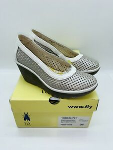 FLY London Women Yobe Leather Slip On Wedge Pump Silver Off-White EUR 35 / US 5