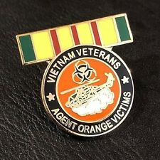 Vietnam war Veteran agent orange victims pin with helicopter
