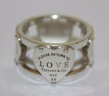 """Tiffany & Co Sterling Silver """"Love"""" Heart Wide Band Eternity Ring Size 6.5(08WE)"""
