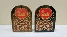 A Pair of Vintage Wood Hand Painted Folding Book Ends