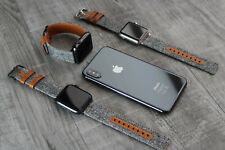 For Apple Watch 6 5 4 SE 38/40/42/44mm Genuine Tweed & Brown Leather Strap Band