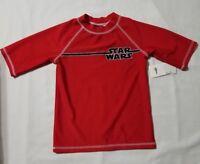 New Youth Boy's Disney Star Wars Swimwear Red Swim Top Shirt Children's Size XS