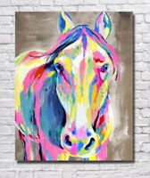 ZOPT264  100% hand painted multi-color horse art OIL PAINTING ON CANVAS