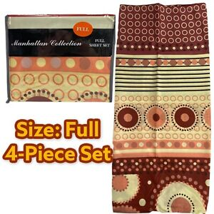 MANHATTAN COLLECTION 4-PIECE FULL BED SHEET SET RETRO VINTAGE STYLE CIRCLES DOTS