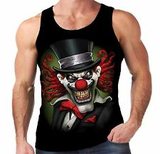 Velocitee Mens Vest Crazy Clown Scary Horror Joker Jester Evil Biker A19402