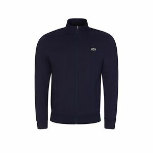 Lacoste Full Zip Track Top Cotton Blend Fleece Cardigan in Navy - SH1559-00/423
