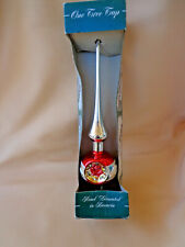 Vintage Mercury Glass Tree Topper Hand Painted Indent Silver Red w/Box W Germany