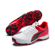 2020 Puma 19 FH White Red Black Rubber Sole Cricket Shoes Size UK 7 - 12