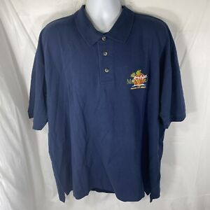 Jimmy Buffet Margaritaville Mens XXL Panama City Beach Navy Blue Polo Shirt NWT