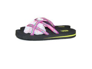 Teva Sandals Pink Blue Yellow Stripe Olowahu Thong Flip Flops Women Size 6