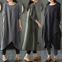 Femme Vintage Manche Longue Casual Soiree Grande Taille Maxi Dress Coton Kaftan