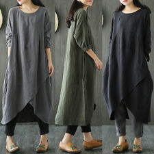 UK 8-26 Women Cotton Linen Maxi Dress Long Sleeve Casual Boho Kaftan Basic Tunic