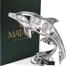 Chrome Plated Crystal Studded Silver Dolphin Riding Wave Figurine Ornament