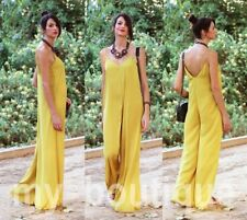I ZARA yellow LIGHT FLOWING SILKY JUMPSUIT OVERALL PLAYSUIT NEW - 36 SMALL S
