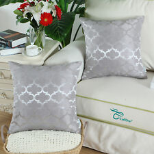 2PCS Square Cushions Cover Pillows Cases Quatrefoil Accent 20x20 Silver Gray