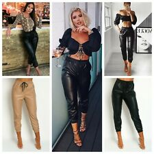 PU Faux Leather Cuffed Joggers Trousers Drawstring Waist Cropped Cargo Pants
