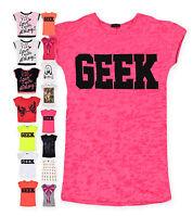 Ladies Tops New Womens Short Sleeved Crop T-Shirt Geek Slogan Tee Sizes UK 8-14
