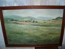 """EARL BLUST Farm At Green Meadow ORIGINAL WATERCOLOR SIGNED & FRAMED 29-1/2"""" x 21"""