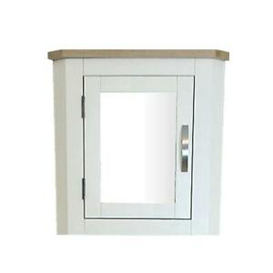 Off White/Cream Painted Wall Mounted Mirrored Bathroom Corner Cabinet 601P