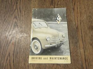 RENAULT 4 1959 DRIVING AND MAINTENANCE VINTAGE  MANUAL