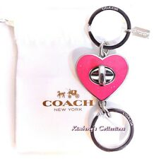 COACH Handbag Keychain Valet Pink Heart Ring Sparkle Turnlock Purse Charm NWT