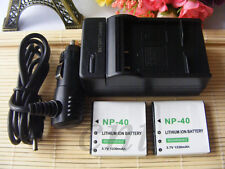 2X NP-40 Battery +Charger for Casio EXILIM EX-Z1050 EX-Z1000 EX-Z850 EX-Z750
