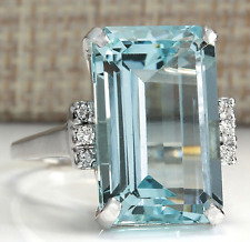 6.35ct Fashion Woman Jewelry Aquamarine 925 Silver Wedding Bridal Ring Size 6-10