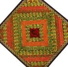 """40"""" PURPLE CRAZY QUILT IND SARI DECOR PATCHWORK EMBROIDERY WALL HANGING TAPESTRY"""