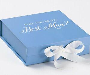 You Be My Best Man? Proposal Box Light Blue - White Font w/ White Bow - No Borde