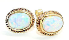 9CT HALLMARKED YELLOW GOLD CABOCHON OVAL WHITE OPAL 10 x 8MM STUD EARRINGS