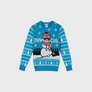 Boys' 'Snow Cool' Snowman Pullover Knit Sweater - Blue XS 4/5