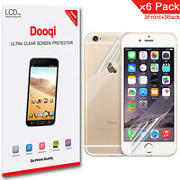 6X Dooqi Front + Back HD Clear Screen Protector For Apple iPhone 6 / 6S 4.7""