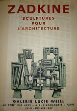 Zadkine Affiche Lithographie Mourlot 1967 abstraction art abstrait sculpture