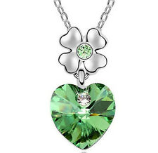 Fashion Womens Heart Green Crystal Rhinestone Silver Chain Pendant Necklace ~!