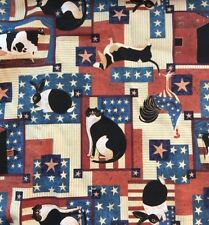 Warren Kimble Fabric Cranston 4 Yards 144 X 45 American Folk Stars Cat Flag Dog