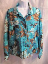 Chico's Turquoise & Brown Floral Linen Blend Blazer Jacket Size 3, 16, XL