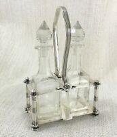 Antique Christofle Silver Plate Oil & Vinegar Bottle Cruet Set Condiment Stand