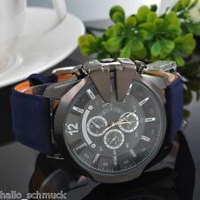 HS Blau Schwarz Herren Armbanduhr V6 Quartz Analog Sportuhr Lederband 28cm