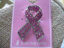 "PINK BREAST CANCER RHINESTONE AWARENESS PIN SILVER TONE 2"""