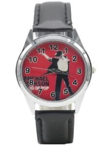 Michael Jackson King of Pop Red Backing w/ Black Leather Band Timepiece