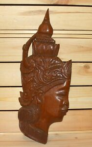 Vintage Asian Hindu folk art hand carving wood wall hanging plaque