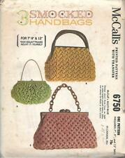 McCalls 6750 3 Smocked Handbags Sizes 7, 9, 12 inches Mount it Yourself Vtg 1963