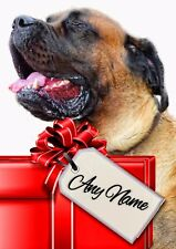 ENGLISH MASTIFF CHRISTMAS or BIRTHDAY CARD  Personalised in & out  Glossy A5