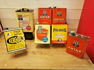 Collection de 7 bidons d'huile anciens - automobilia - KERGOL, ANTAR, POLAROIL