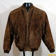 ADAM SPENCER Heavy Suede LEATHER JACKET Mens Size M Brown zippered insulated